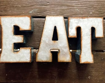 Rustic Tin Letters Eat Letters  Etsy