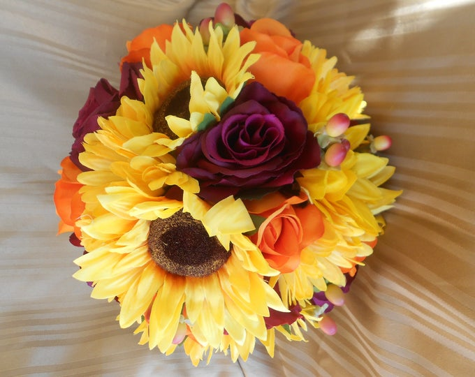 Fall  bridal wedding set 14 sunflowwers and roses yellow , orande , purple and ivory