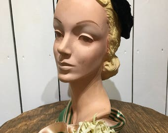 Original 1950's black velvet headpiece - Sweetheart bow details and paste jewellary studs