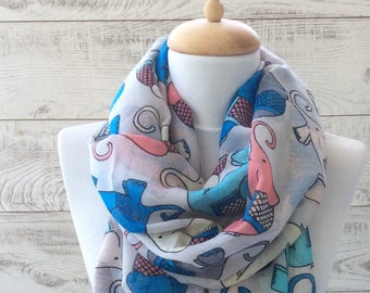 Elephant Scarf Light Cotton Scarf Spring Scarf Summer Scarf Spring Infinity Scarf Purple Scarf Animal Print Scarf Light Cotton Scarf