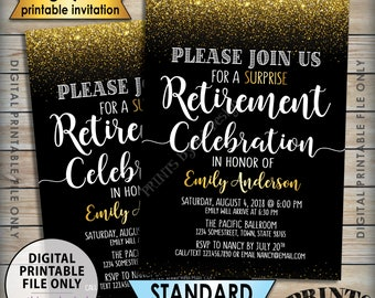 "Retirement Party Invitation, Retirement Celebration Invite, Celebrate the Retiree, Black and Gold Glitter Digital 5x7"" PRINTABLE Invitation"