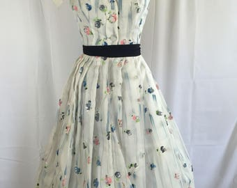 1950's Organdy Hand Painted Dress