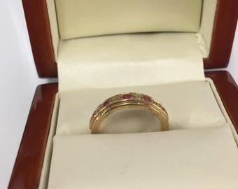 Vintage 9ct Yellow Gold Ruby and Diamond Ring Size I