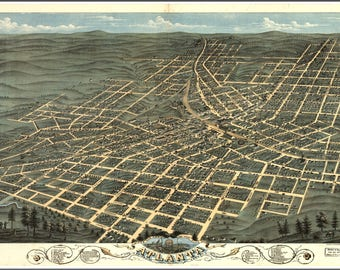 Atlanta, GA Panoramic map from 1871. This print is a wonderful wall decoration for Den, Office, Man Cave or any wall seeking a bit of decor.