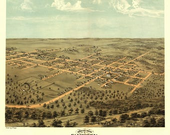 California Missouri Panoramic Map dated 1869. This print is a wonderful wall decoration for Den, Office, Man Cave or any wall.