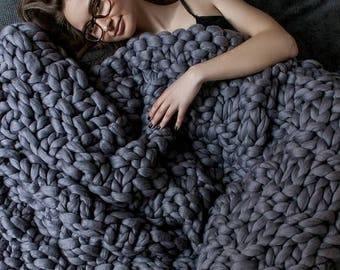 SUMMER SALE Chunky knit blanket, Australian merino, Merino wool, wool blanket, bulky blanket, chunky blanket, Giant blanket, Wool, knitting.