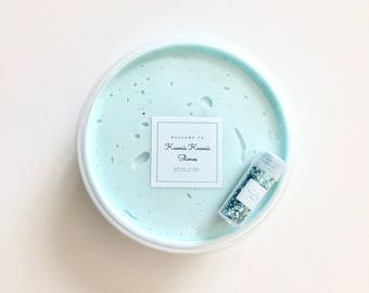 """8oz Aquamarine Shimmer Butter Slime with FREE GIFT So Cute Mini Panda Squishy (1.5""""), Blue Glitter and 2 Bottles of Your Choice 43 Fragrance"""