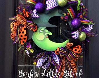 Halloween Wreath, Witch Wreath, Half Moon Face Witch, Halloween Deco Mesh Wreath, Custom Witch Sign, Halloween Decor, Witch Wreaths,
