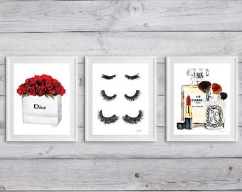 Set of 3 fashion posters lashes perfume makeup lipstick brushes roses watercolor Fashion decor fashion illustration above bed bathroom wall