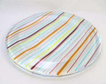 Fused Glass Plate, Clear, Colorful Stripes, Handmade, Decorative Tray, Round, Home Decor, Interior Decor, Gift, Centerpiece, Candle Holder