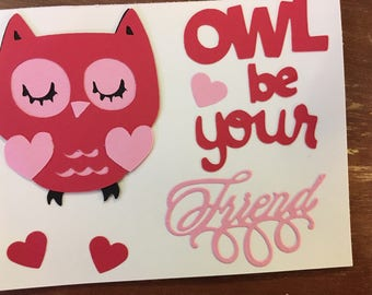 Owl be your Friend handmade Valentines Set of 12