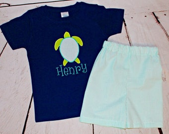 Boys Personalized Shirt- Sea Turtle Shirt- Toddler Boys Monogram Shirt- Beach attire- Summer outfit- 6m, 12m, 18m, 24m, 3t, 4t, 5t,6