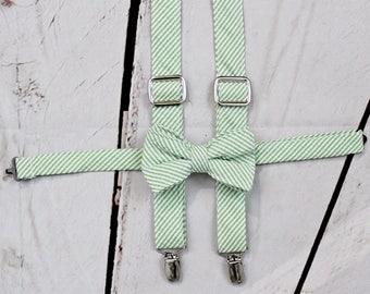 Boys Seersucker Bow Tie- Seersucker Suspenders- Seersucker Vest- Toddler Boys Bowtie- Baby Boys Bowtie- 6m,12m, 18m, 2t, 3t, 4t, 5,6,7,8, 10