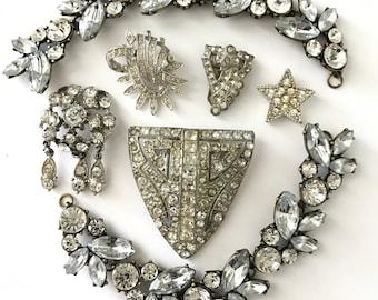 Vintage and Contemporary Rhinestone Jewelry Lot for Assemblage // Rhinestone Steampunk // Destash