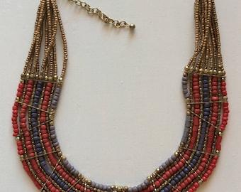Ethnic necklace, boho necklace, bead necklace, choker necklace, multiwire necklace, Frida necklace, handmade necklace,