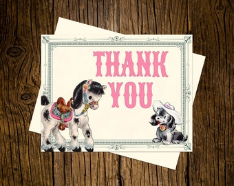 Western Thank You Note Cards Custom Printed Handmade Stationery Set of 12 Pony Puppy Pink Vintage Ecru Rustic Cowgirl