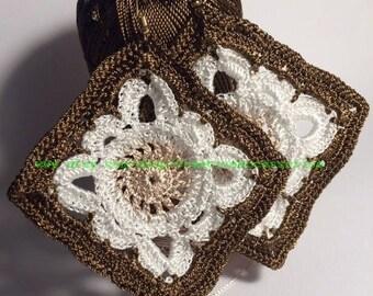 Crochet earrings, crochet jewelry, square earrings, Textile jewelry, granny's square earrings