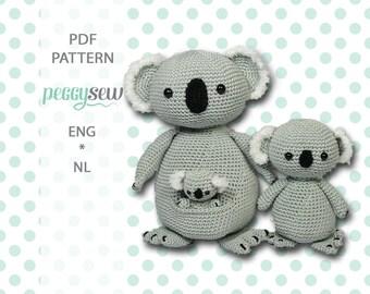 Amigurumi crochet pattern Koala mother and baby, PDF, ebook