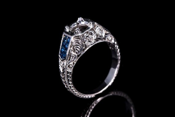 Antique inspired Art deco style 14k gold filigree diamond and
