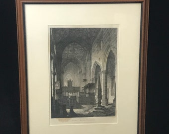 John Coney Etching of Cartmell Priory, Lancashire Published 1825 (ART10079)