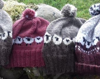 Hand knitted sheep hat made with Baa Ram Ewe's Dovestone Aran or Shetland Aran