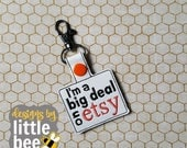 I'm a big deal on Etsy sayings key fob snap tab keychain 4x4 hoop friendly embroidery design Instant Download! bean stitch, monogram