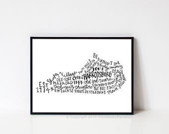 Hand lettered HARRODSBURG Kentucky Word Art Print // 8x10