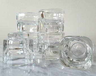 Joe Colombo Egg Cups Set Of 6 Mid Century Modern Italy Clear Glass Minimalist Kitchenwares Stacking Glass Egg Cup Set 1960's Modern Kitchen