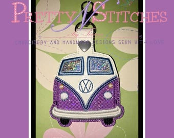 Digital Download In the Hoop VW Bus Key fob/Snap tab Applique Embroidery Design for 2.5X4.5, 4X4, 5X5, 5X7 hoops
