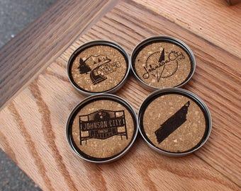 Mason Jar Coasters - Johnson City Icons