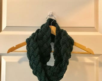 Chunky Braided Crochet Infinity Scarf