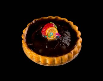 Dollhouse Miniatures Belgian Chocolate Tart with Fruit Topping - 1:12 Scale
