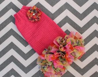 Soft Merino Wool Teacup Dog/Puppy Sweater Dress XXS/XS 2 to 4 Lbs Bright Pink w/Full Chiffon Ruffle for Chihuahua Yorkie Maltese