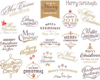 Digital Christmas Clipart, Merry Christmas Photo Overlay, Gold Silver Christmas Wording, Instant Download Red Green Christmas Clip Art 0421