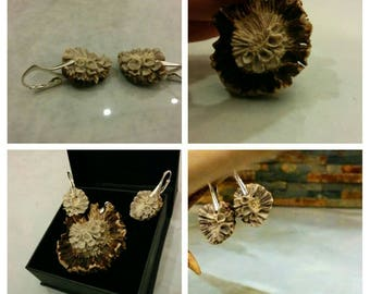 Flower antler jewelry- handmade antler jewelry- handmade jewelry set- antler earings and pendant- antler crafts- set from antler-deer antler
