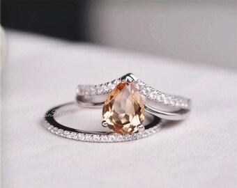 Natural Morganite Ring Set Morganite Engagement Ring Set Wedding Ring Set  Promise Ring Anniversary Ring