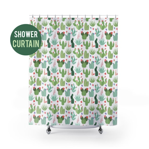 Shower Curtain Cactus Succulent Pattern Shower Curtain
