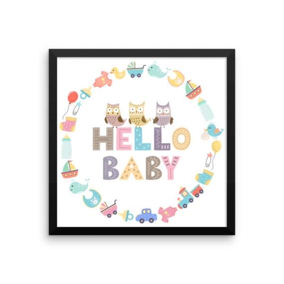 Hello Baby Framed Nursery Wall Art - Nursery Decor- Cute Animal Wall Art - Kids Wall Art - Baby Room Decor