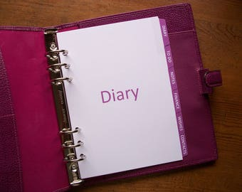 A5 Size SUBJECT DIVIDERS - 'Fuchsia' #710 - Fits Filofax