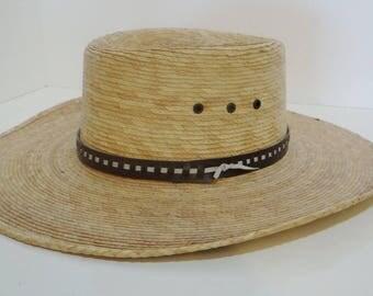 Vintage Sahuayo Legitimo Hat Straw Mexico Western Mens Cowboy Hat Size 55 US 6 7/8