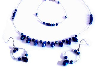 Set pearls drops Blue Crystal glass