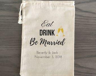 10 Wedding Favors, Eat Drink Be Married, Hangover Kit, Survival Kit, Birthday Favor Custom - Eat Drink Be Married