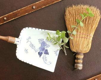 Natural Straw Hand Broom & Porcelain Dust Pan, Cottage Style Home Decor