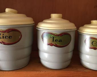 Set Of 5 Vintage Grey Yellow Kitchen Canisters Art Deco Kitchen Vintage  Stackable Kitchen
