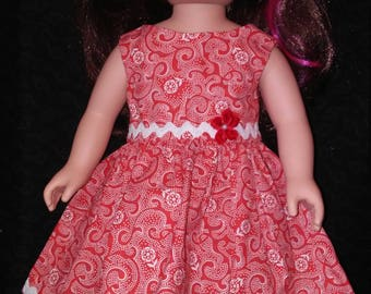 """18"""" doll clothes. Doll Dress. Red Dress. Summer Fun. Doll Style. Party Dress."""