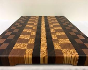 Cutting board chopping board end grain walnut cherry olivewood granadillo wood handmade