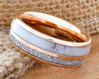 Tungsten Ring Tungsten Wedding Ring Meteorite Deer Antler Ring Men Women Wedding Band 8mm Rose Gold Custom Made Handmade Free Engraving