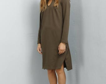 Sale - Slit dress - Khaki green dress - Black slit dress - Fall dress - Jersey dress - Long sleeve dress - knee length dress - Lulu dress