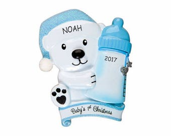 Personalized Baby Bear First Christmas Ornament - Blue