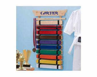 Personalized Karate Belt Display - 10 Belts